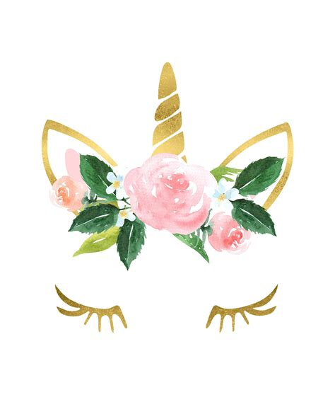 gold unicorn flower crown nursery girls room printable wall art decor baby shower lashes poster