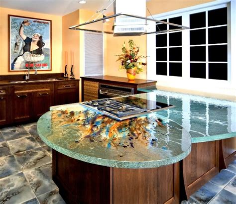glass top kitchen island glass tops for cool and unusual kitchen designs from