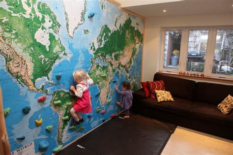 climbing wall world map mural eclectic kids