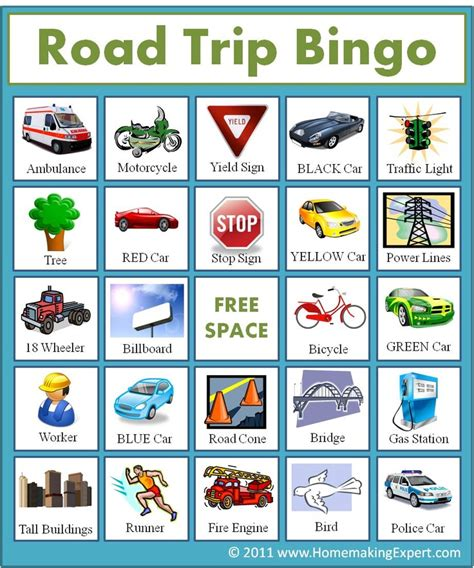 printable road sign bingo 6 best images of road trip bingo printable road trip