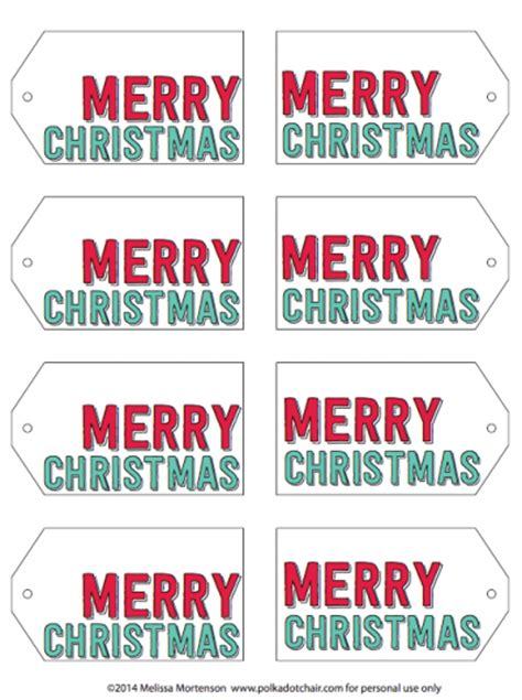 Merry Christmas Printable Tags Happy Holidays Merry Tags Template