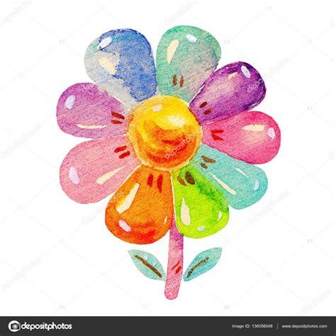 imagenes de flores animadas infantiles colores acuarela de flores en estilo infantil de dibujos