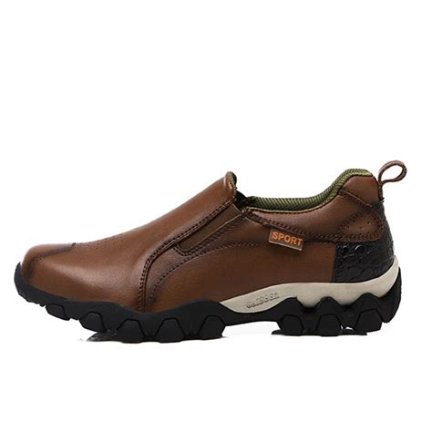 Genuine Leather Slip On Sneakers genuine leather wear resistant outsole elastic band