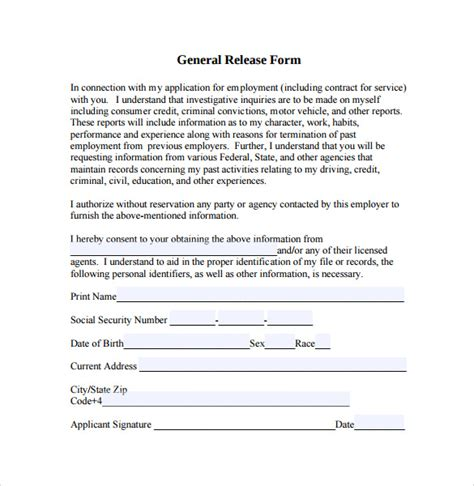sample general release form    documents