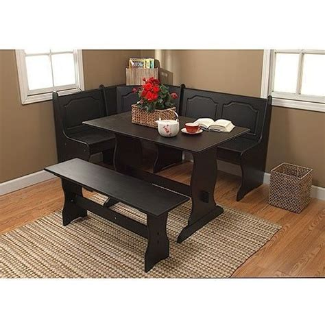 Corner Booth Kitchen Table New Black 3 Corner Dining Table Bench Breakfast Nook Kitchen