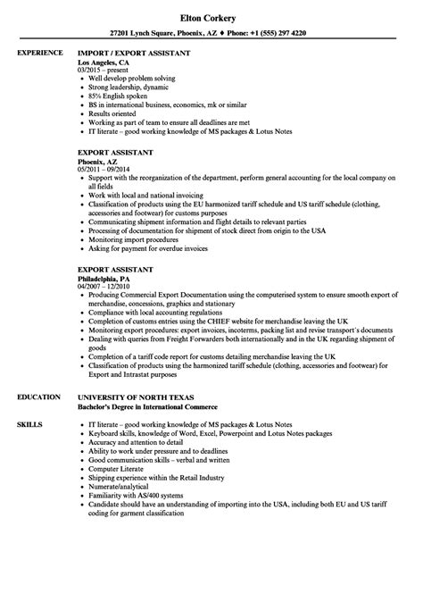 Export Assistant Sle Resume by Export Assistant Resume Sles Velvet