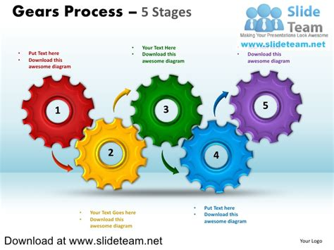 powerpoint gears template interconnected gear pieces smart arts process 5 stages