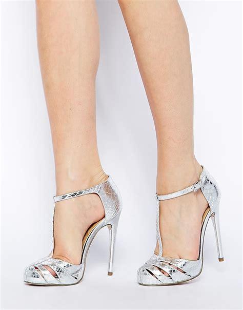 Xoxo Heels Silver 12cm asos practiced high heels in metallic lyst