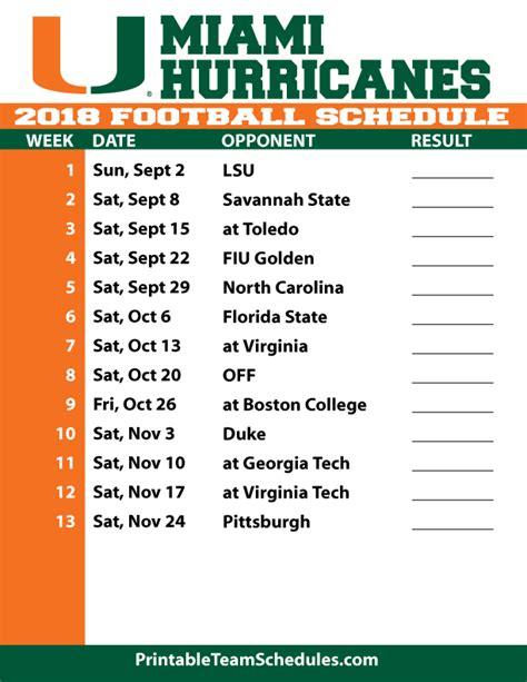 printable hurricanes schedule 2018 printable miami football schedule
