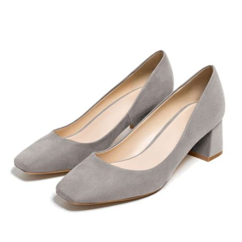 s grey dress shoes suede square toe chunky heels