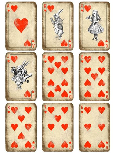 printable playing cards sheets kitty playing cards printable alice in wonderland play