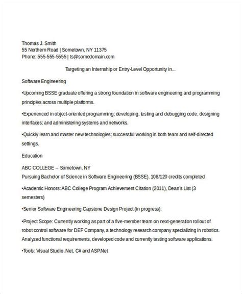 Resume Title Sle For Software Engineer Sle Resume For Software Engineer Fresher Doc 28 Images Objective In Resume For Software