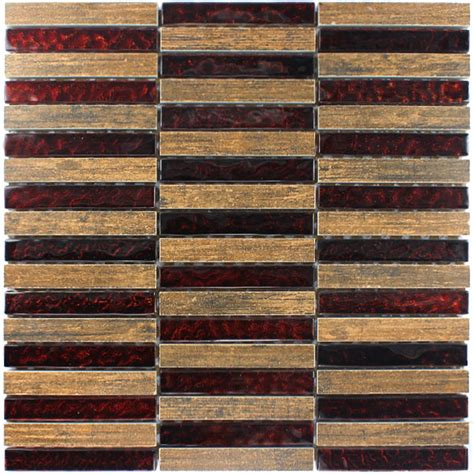 fliesen holzoptik rotbraun glasmosaik holz optik feinsteinzeug mosaik tg18057m