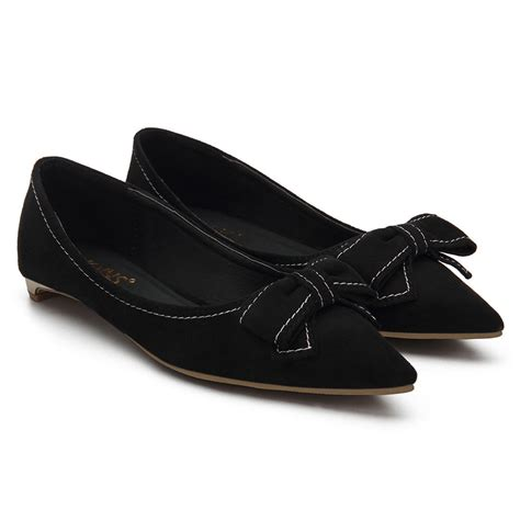 black pointed flat shoes black bowknot pointed toe suede flat shoes us 23 95 yoins