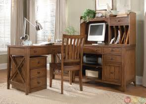 Rustic Home Office Desk Hearthstone Rustic Oak Finish L Shaped Home Office Desk