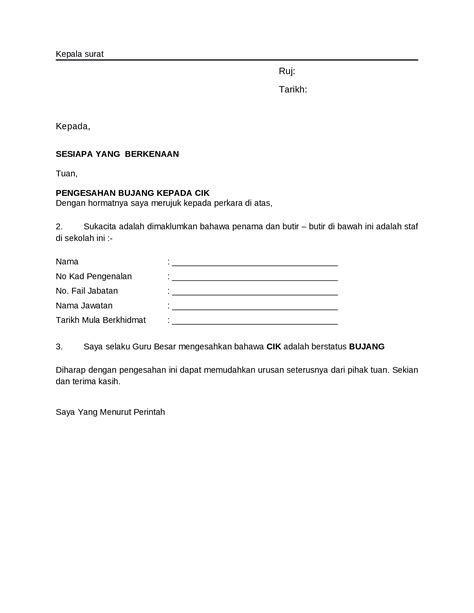 contoh surat pengesahan bujang documents tips