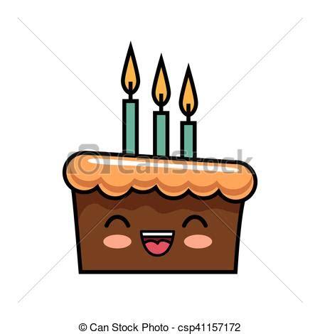 imagenes de tortas kawaii kawaii lindo velas torta de chocolate feliz kawaii