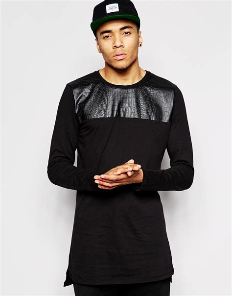 Tshirt Longline Leather Oveersized lyst asos longline sleeve t shirt with faux leather panel in black for