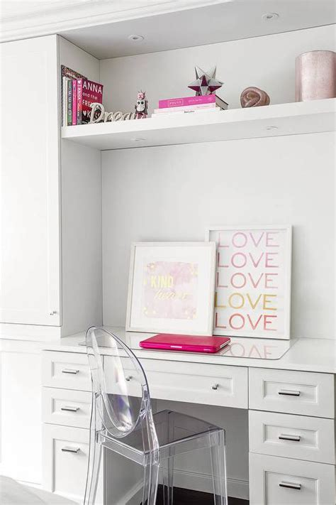 desk with pink deck decor contemporary