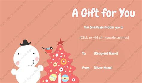 Tree Gift Card Template by Gift Certificate Template 14