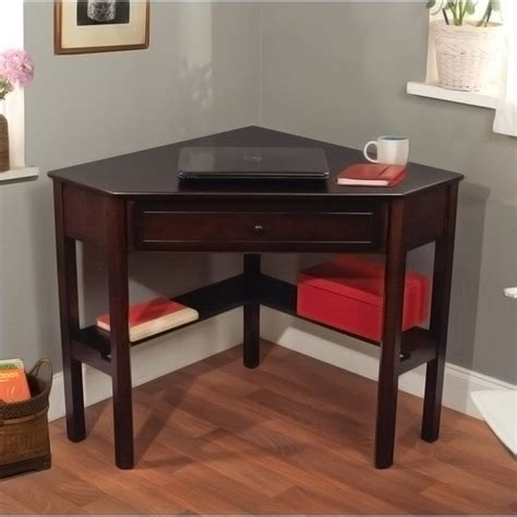 Simple Living Espresso Corner Writing Desk Contemporary Simple Corner Desk
