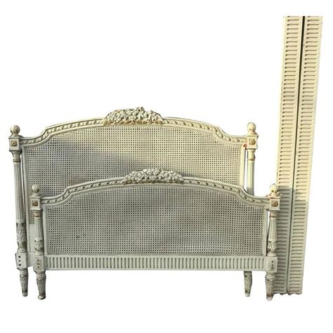 French Antique Original Painted King Size Rattan Bed For White Rattan Bed Frame