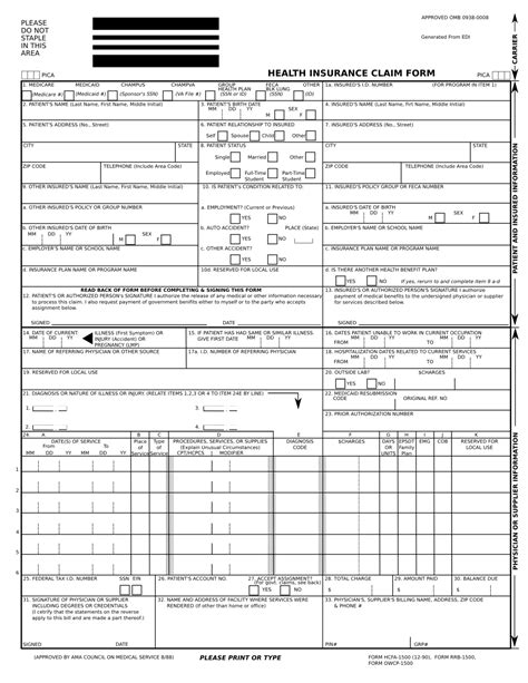 health insurance claim form 1500 template claim form claim form hcfa 1500