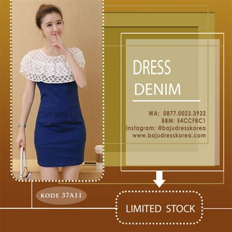 Midi Dress Brokat Model Kerah V dress denim variasi brokat model kerah bertha collar 37a11