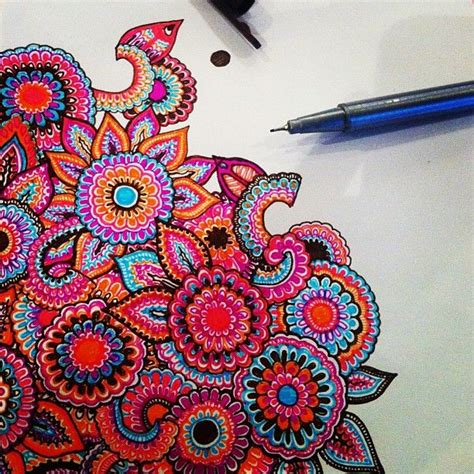 indian doodle artists zentangle ispirazioni inspiration india colors doodle