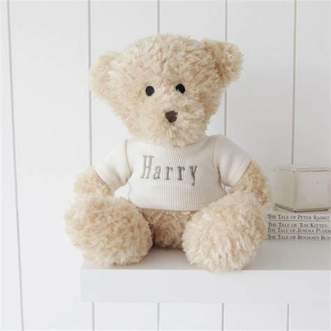 personalised waffle teddy bear large by my 1st years