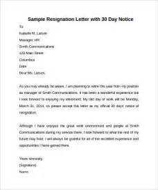 Resignation Letter Sle Format With 30 Days Notice Sle 30 Days Notice Letter 7 Free Documents In Word Pdf