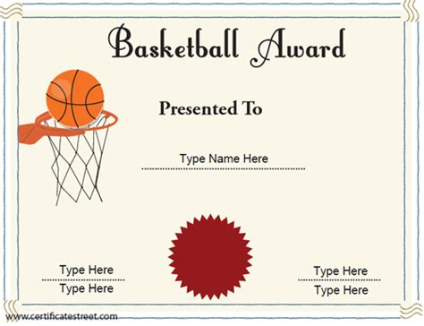 basketball certificates templates free basketball awards quotes