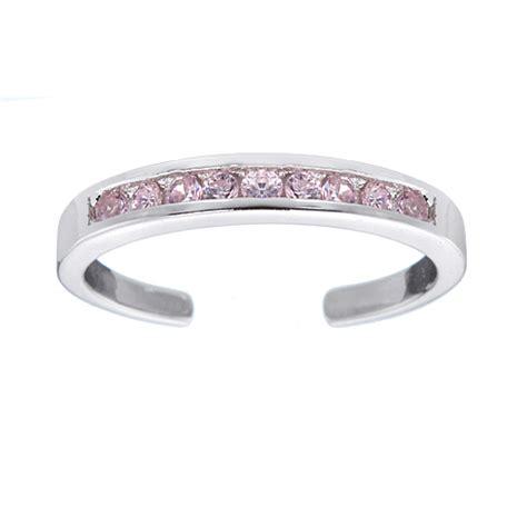 925 sterling silver channel set pink cz adjustable size