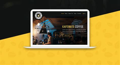 coffee shop ui design kafeinate free coffeeshop logo one page ui designs psd