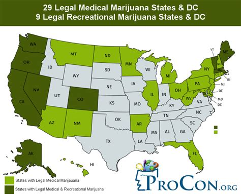 states with legal weed 29 legal medical marijuana states and dc medical marijuana procon org