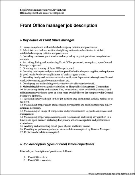 Resume Sles For Front Office Executive Resume Format For Front Office Executive Free Sles