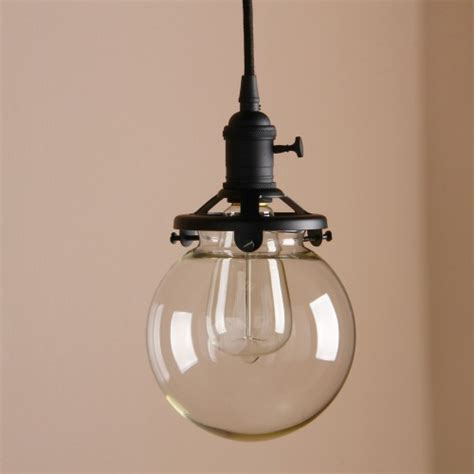Retro Chandelier Glass Globe Shade Pendant Light With Switch