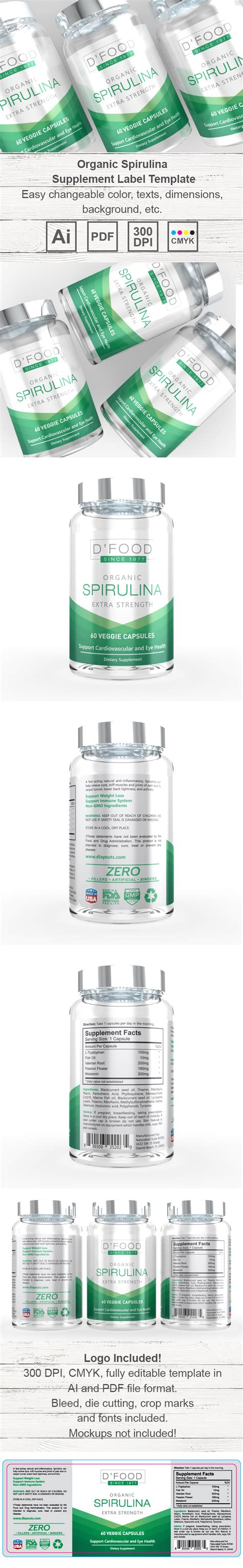 supplement label template spirulina supplement label template