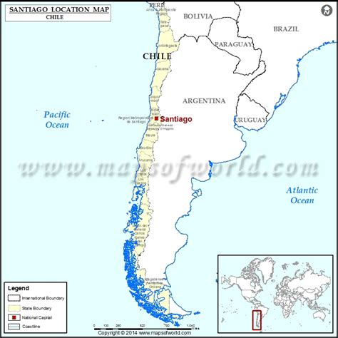 santiago chile on world map santiago where is santiago location of santiago in chile map