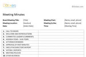 Plain Board Template by Board Meeting Minutes Template Plain Format Dotxes