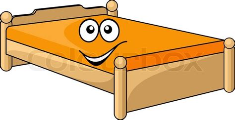 bed cartoon comfortable cartoon bed with a colorful orange mattress