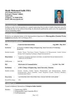 Sle Resume For System Administrator Fresher