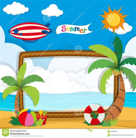 summer themes border design with summer theme stock vector image 68665059