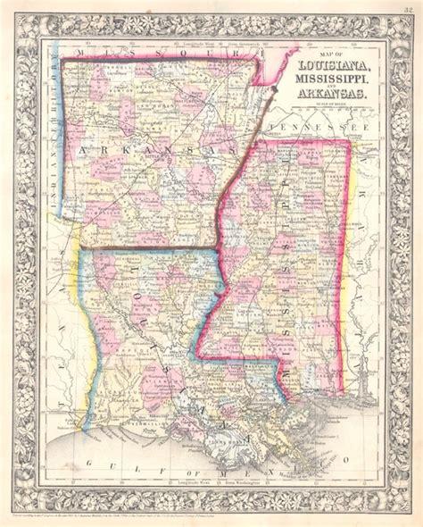 louisiana arkansas map map of louisiana mississippi and arkansas geographicus