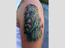 Shoulder Fantasy Frankenstein Tattoo by Fat Foogo Tribal Hand Tattoo Designs