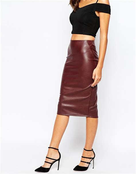 warehouse faux leather pencil skirt in purple lyst