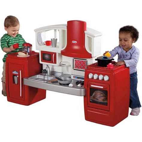 Kids Play Kitchen Pretend Toy Toddler Red Plastic Cooking Tikes Kitchen Set