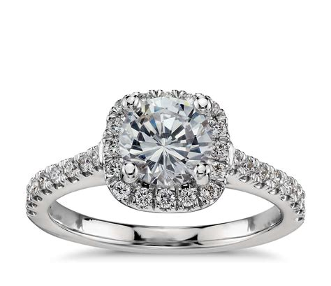 ring cusion cushion halo diamond engagement ring in platinum 1 3 ct