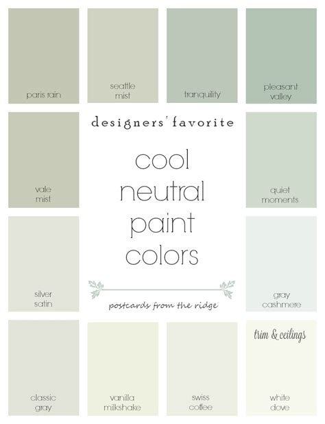 what are the neutral colors designers favorite cool neutral paint colors postcards