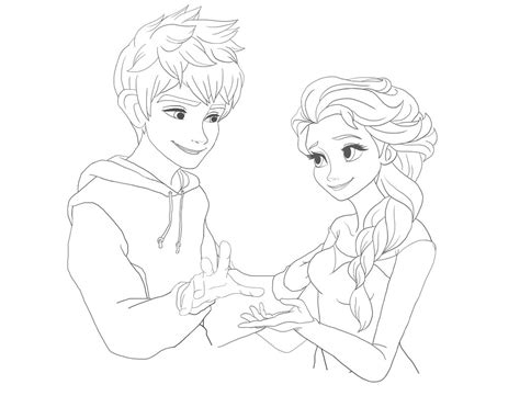 Coloring Pages Elsa And Jack | jack frost and elsa coloring pages coloring pages